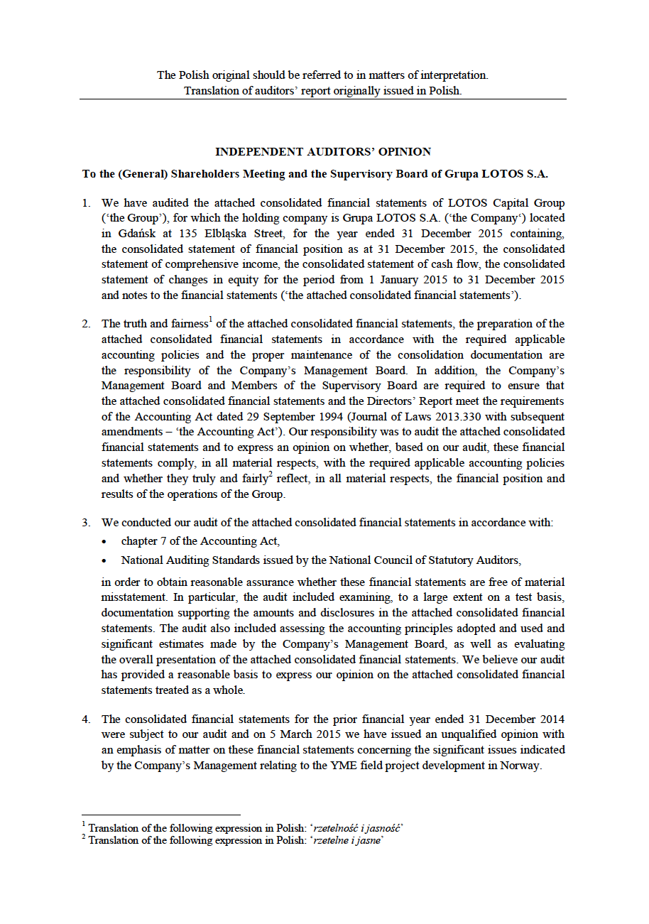 LOTOS Capital Group 2014 - Auditors Opinion (ENG) page 1