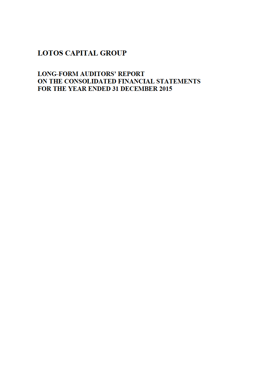 LOTOS Capital Group 2014 - Auditors Report - page 1