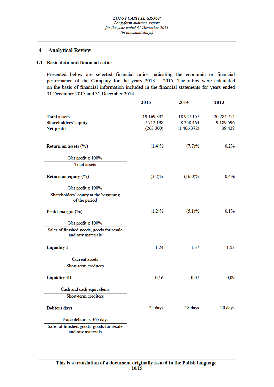 LOTOS Capital Group 2014 - Auditors Report - page 10