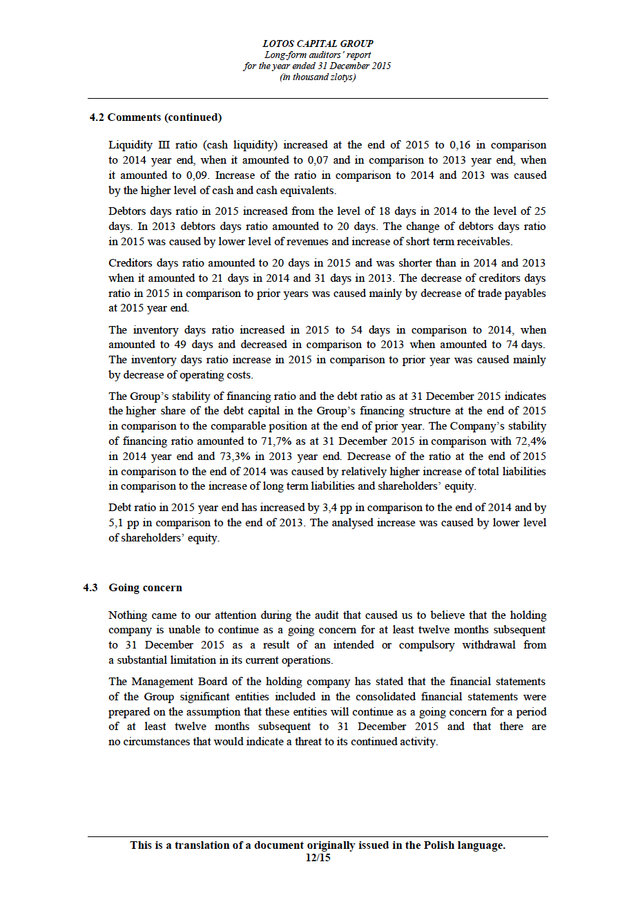 LOTOS Capital Group 2014 - Auditors Report - page 12
