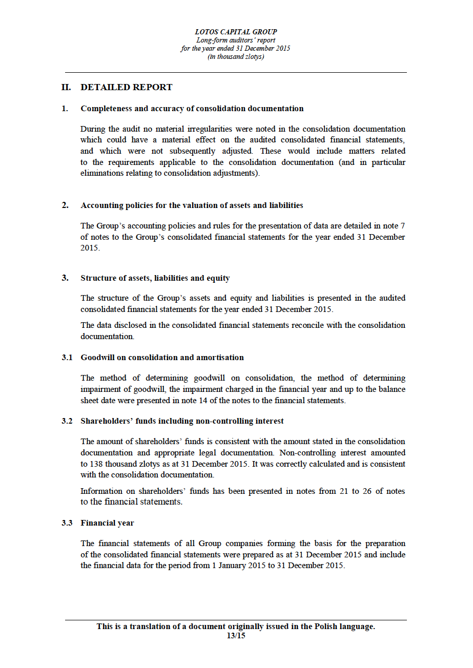 LOTOS Capital Group 2014 - Auditors Report - page 13