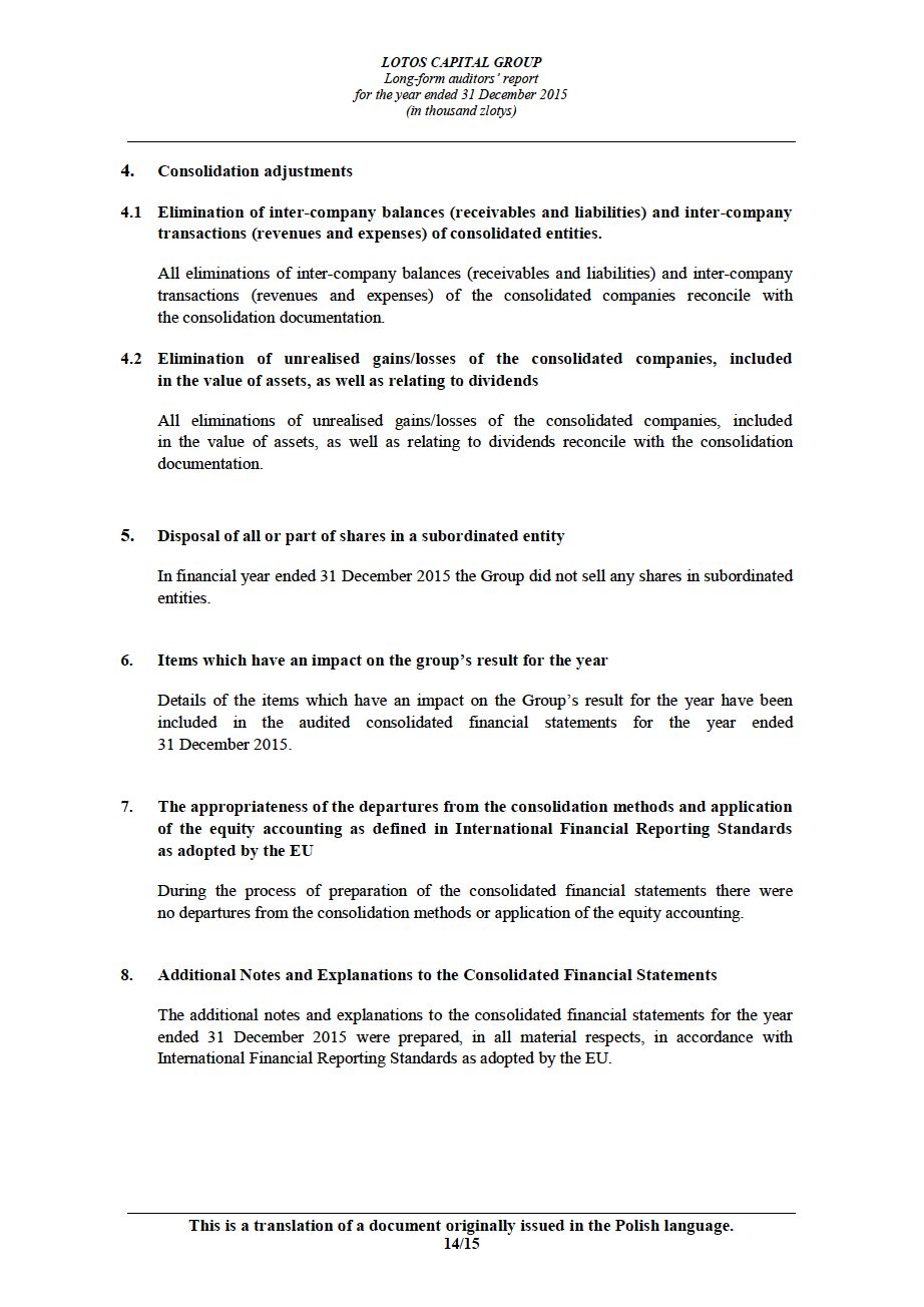 LOTOS Capital Group 2014 - Auditors Report - page 14