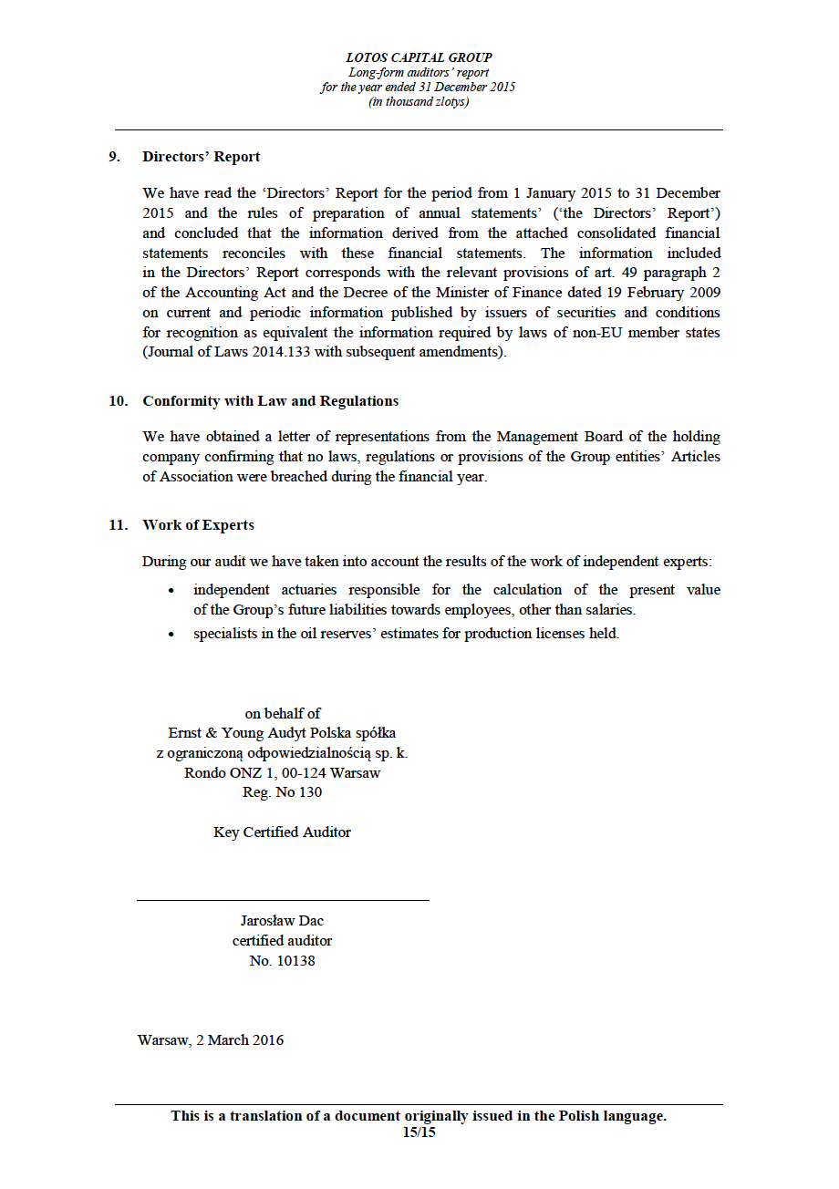 LOTOS Capital Group 2014 - Auditors Report - page 15