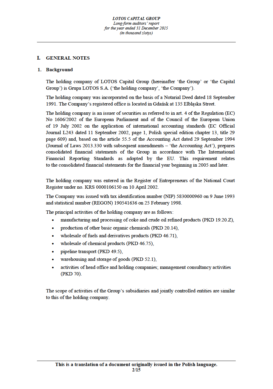 LOTOS Capital Group 2014 - Auditors Report - page 2