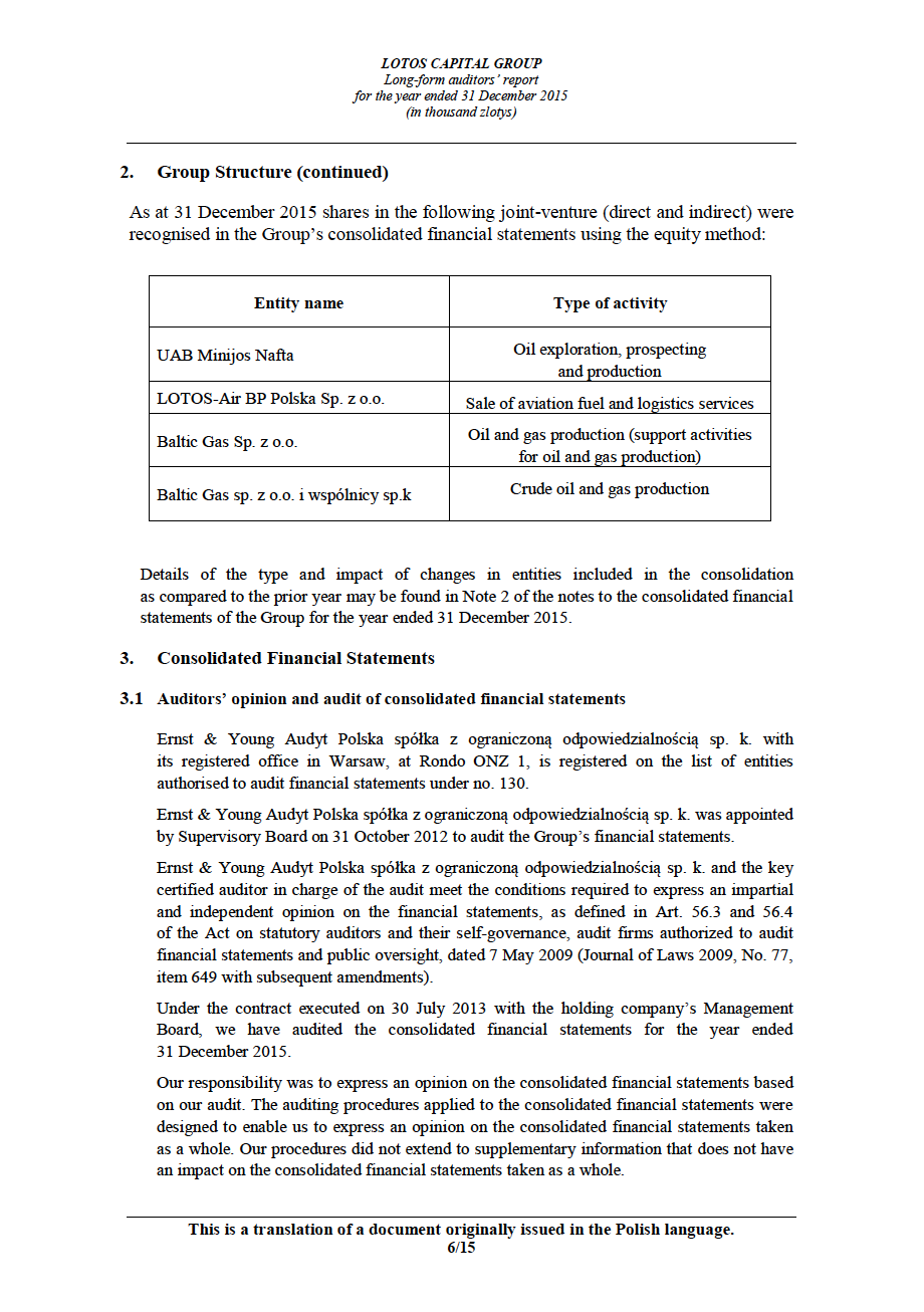 LOTOS Capital Group 2014 - Auditors Report - page 6