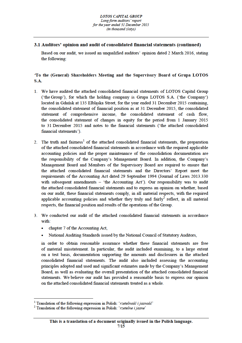 LOTOS Capital Group 2014 - Auditors Report - page 7
