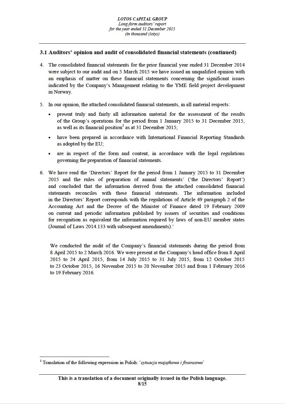 LOTOS Capital Group 2014 - Auditors Report - page 8