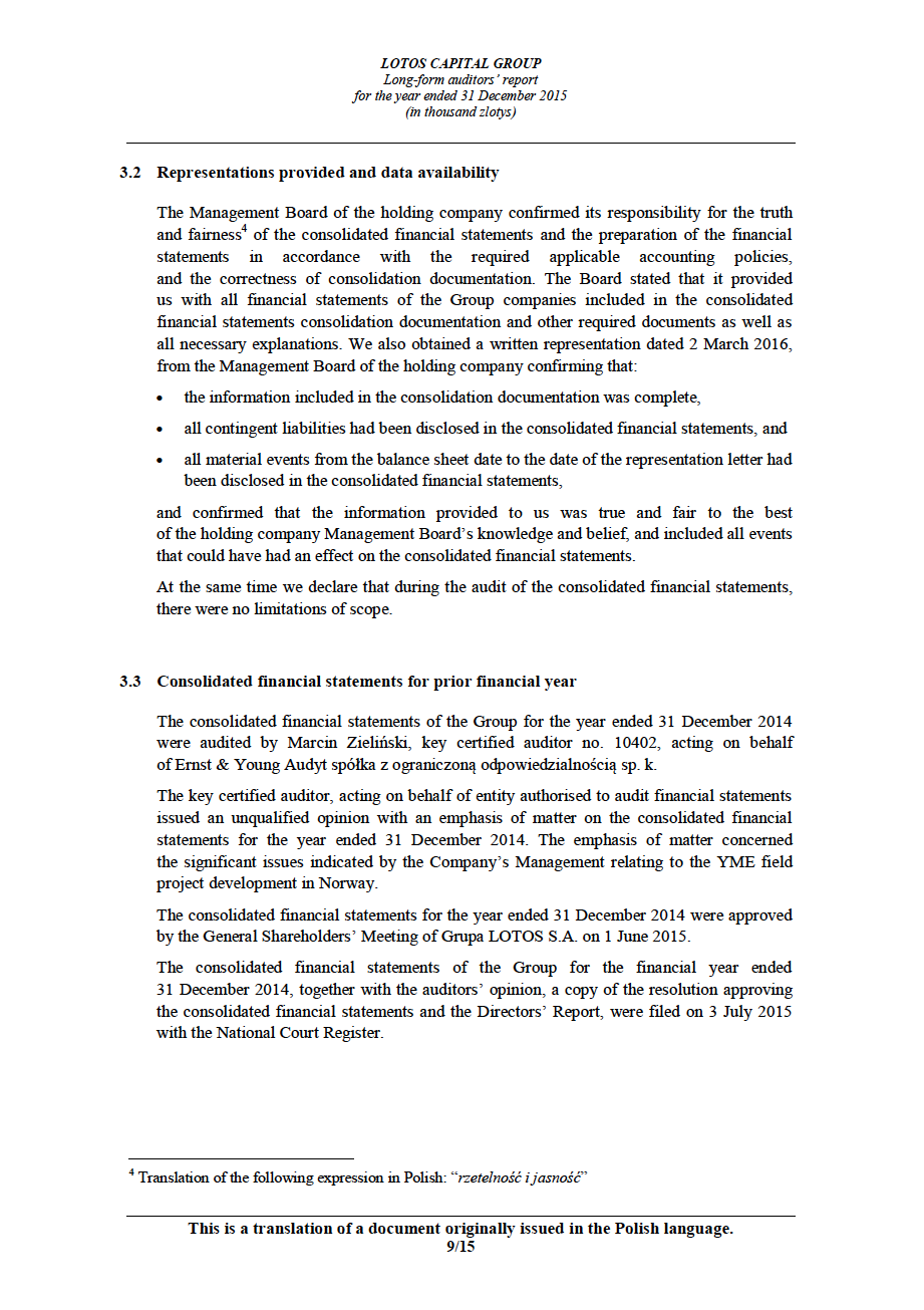 LOTOS Capital Group 2014 - Auditors Report - page 9