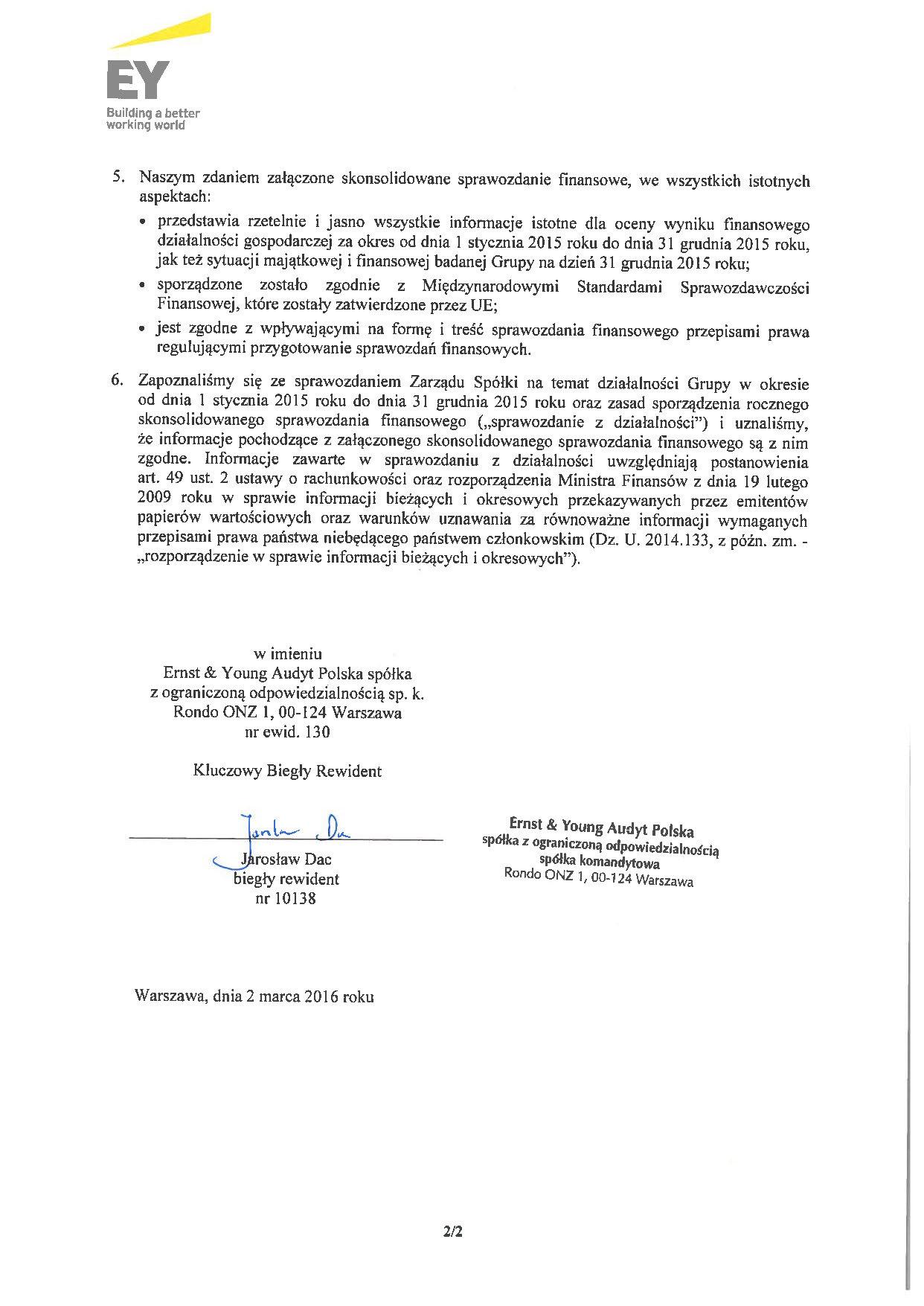 Grupa Kapitalowa LOTOS 2015 - Opinia z badania Skonsolidowanego Sprawozdania Finansowego strona 2
