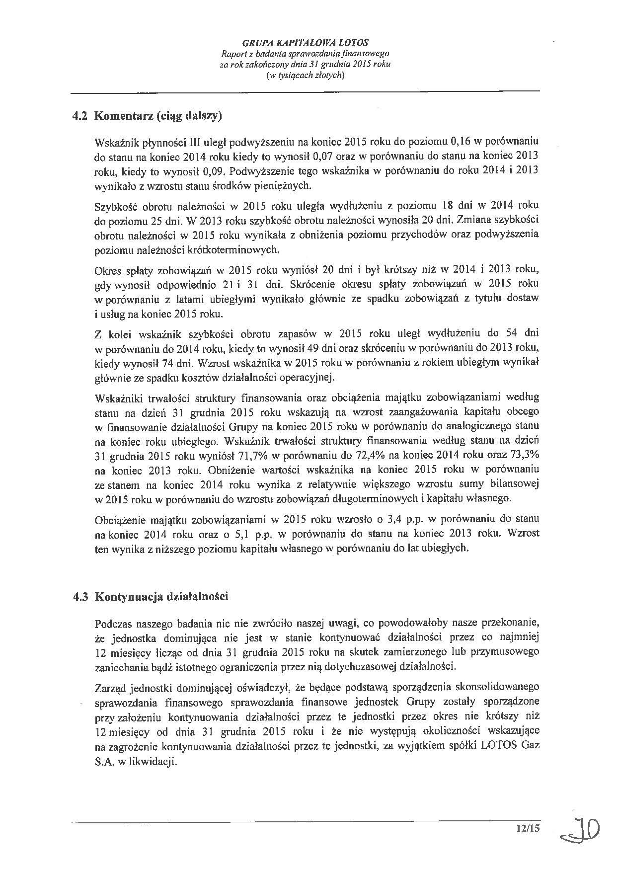 Grupa Kapitalowa LOTOS 2015 - Raport audytora z badania Skonsolidowanego Sprawozdania Finansowego strona 12
