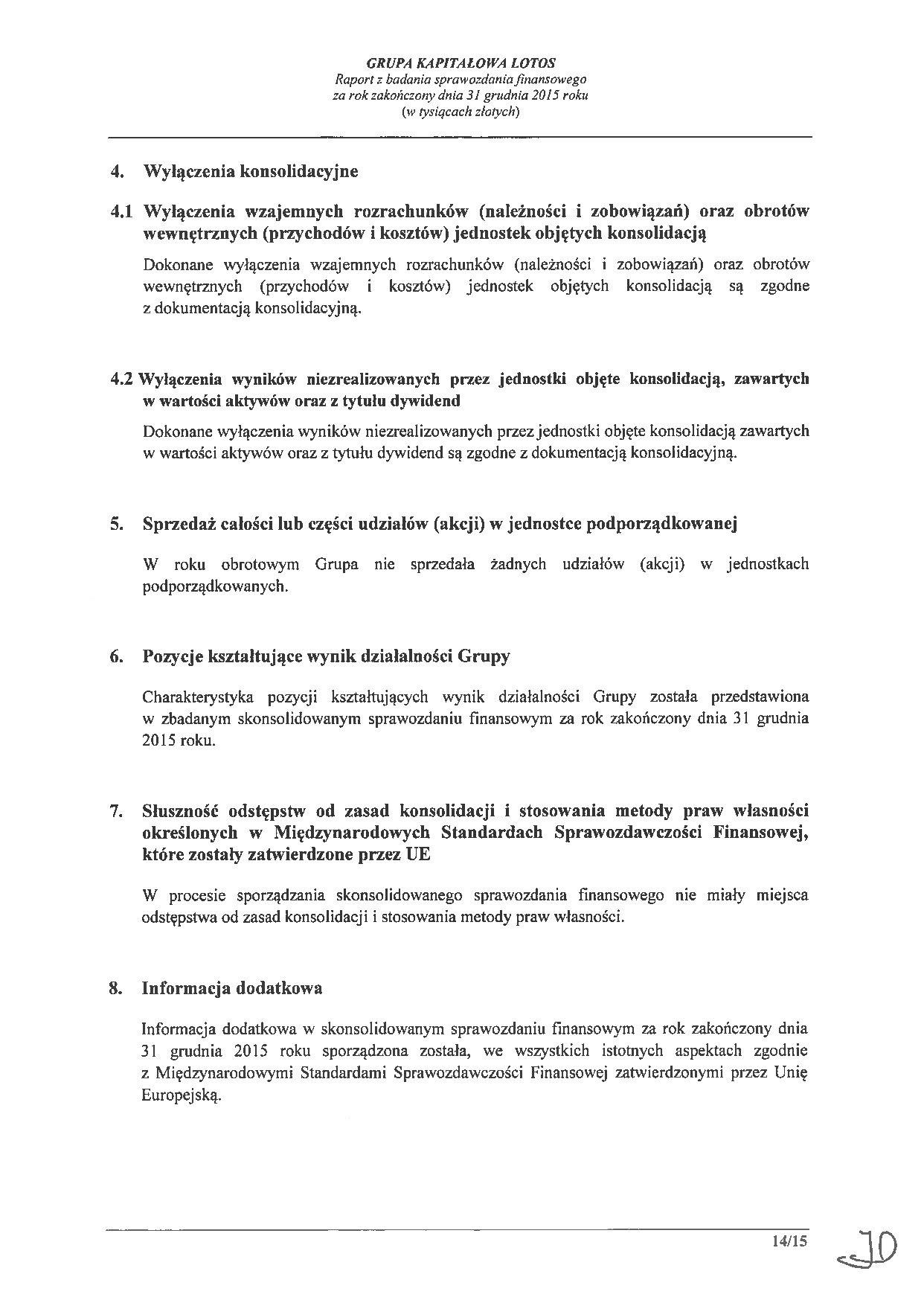 Grupa Kapitalowa LOTOS 2015 - Raport audytora z badania Skonsolidowanego Sprawozdania Finansowego strona 14