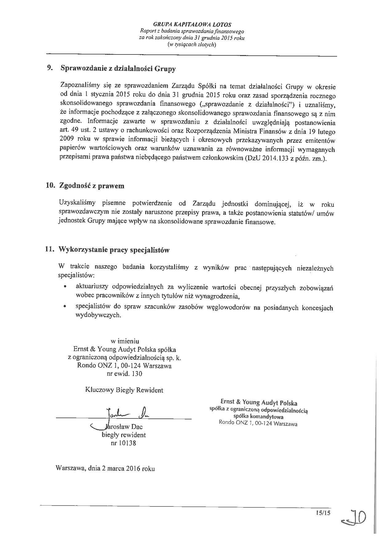 Grupa Kapitalowa LOTOS 2015 - Raport audytora z badania Skonsolidowanego Sprawozdania Finansowego strona 15