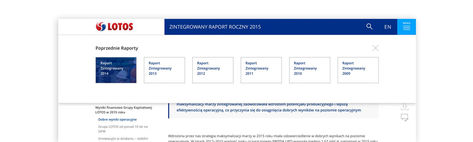 menu poprzednich raportów