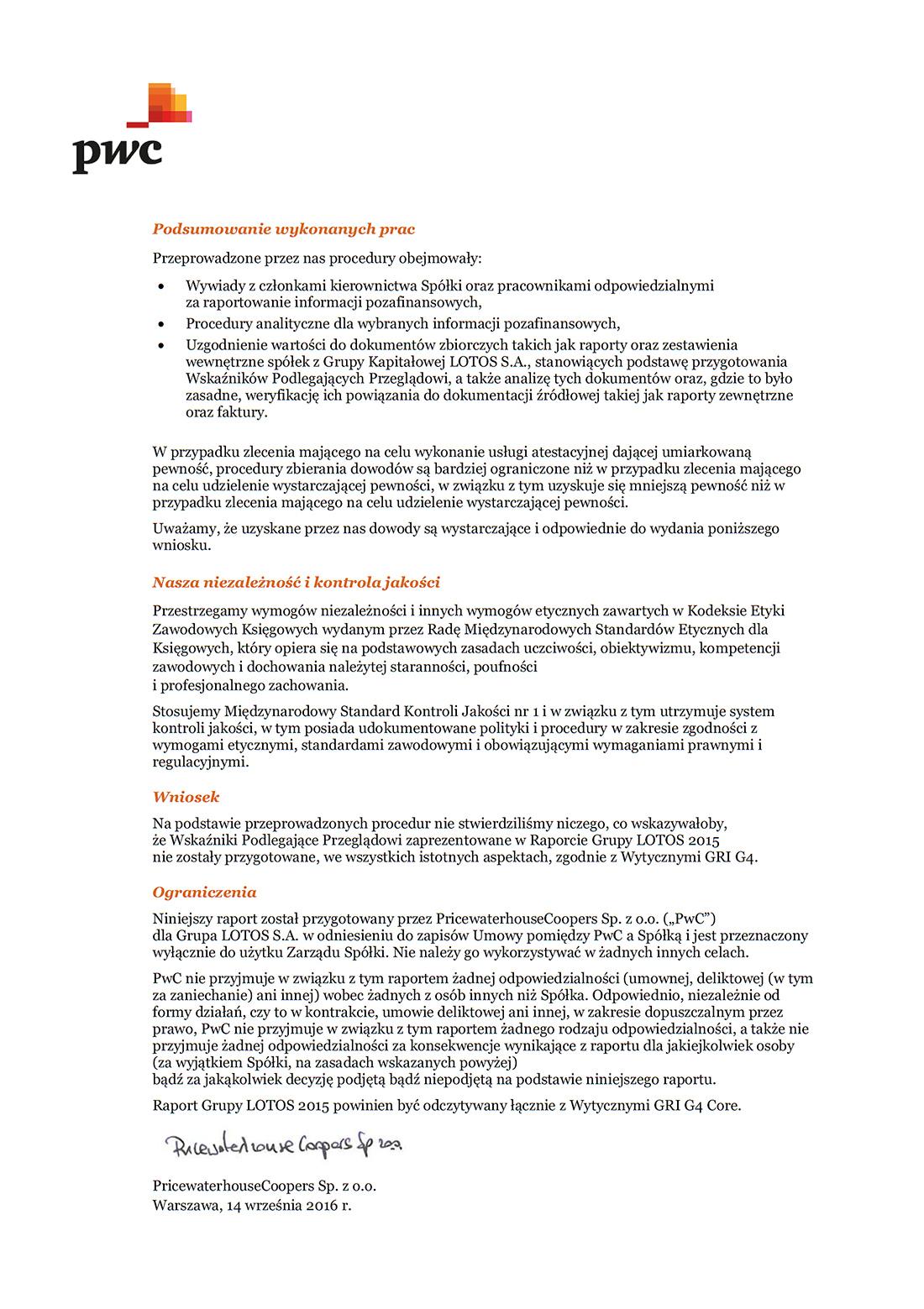 Raport atestacyjny - strona 2