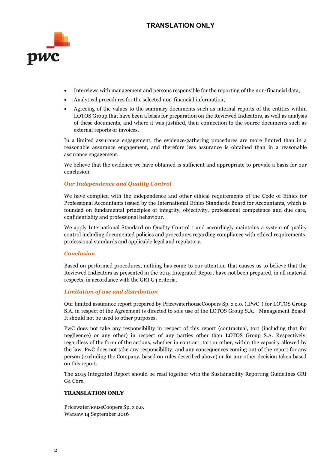 Assurance letter - page 2